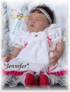 Reborn Baby girl Jennifer.. Sugar kit by Donna Rupert...6 lbs...18 inches...rooted hair..Created by me..2010...