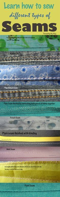 Different Types of Seams Learn how and when to sew different types of seams plain welt french flat felled Threading My Way The post Different Types of Seams appeared first on Sewing ideas. Sewing Lessons, Sewing Class, Sewing Tools, Sewing Basics, Love Sewing, Sewing Hacks, Sewing Tutorials, Sewing Ideas, Basic Sewing
