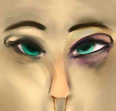 #woman #golpe #blood #green #eyes