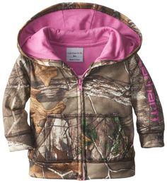 Carhartt Baby-Girls Infant Camo Fleece Zip Front Sweatshirt, Realtree Xtra, 9 Months