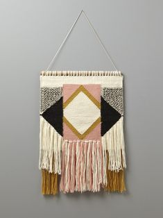 This season, a woven wall hanging is a must in every home. The ethnic-inspired pattern and bright colours will warm up any decor. Weaving Textiles, Weaving Art, Weaving Patterns, Tapestry Weaving, Loom Weaving, Hand Weaving, Deco Rose, Weaving Wall Hanging, Wall Hangings