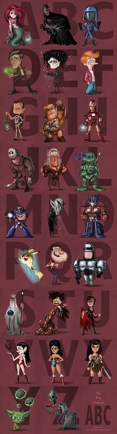 So, we have: A- Ariel, B- Batman, C- Cobra Commander, D- Doctor (Who), E- Edward Scissorhands, F- Fry, G- Ghostbusters, H- He-Man, I- Ironman, J- Jason, K- Khan, L- Leonardo, M- Megaman, N- Nosferatu, O- Optimus, P- Pikachu, Q- Quagmire, R- Robocop, S- Saruman, T- Tetsuo (Akira), U- Ursa, V- Vampirella, W- Wonderwoman, X- Xena, Y- Yoda, Z- Zombie. Glad I know my ABC's, next time won't you nerd with me?