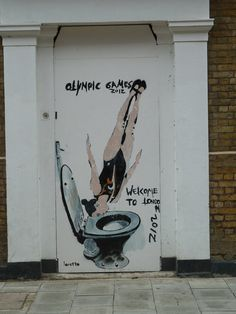 """Artist unknown """"olympic toilet dive"""". London"""