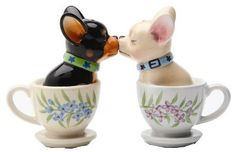 Tea cup pups magnetic salt & pepper shaker gifts for dog lovers .gifts for foodie