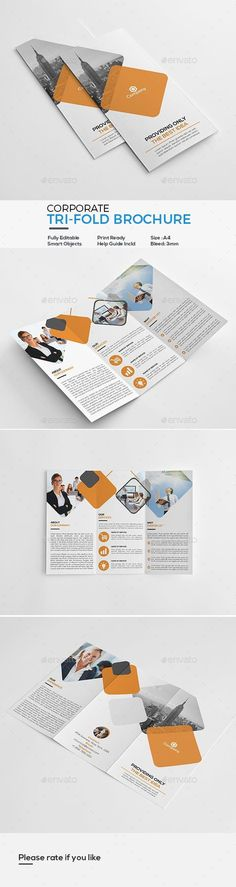 Buy Corporate Tri-Fold Brochure by victormohin on GraphicRiver. Corporate Tri-Fold Brochure Template: Fully editable, customizable and print ready. Stationery Printing, Stationery Design, Brochure Design, Letterhead Template, Brochure Template, Flyer Template, Graphisches Design, Flyer Design, Print Design