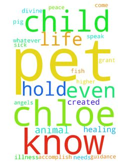 Lord I know that I am your child and as such you hold - Lord I know that I am your child and as such you hold me higher than the angels and the animals that you have created. Even so, pets are all important to you whether it is a dog, cat, lizard, snake, hamster, pig, a fish whatever it may be, you created it. Lord, I thank you for your awesomeness and power, for providing for my every need and the needs of my animal. So, Lord, I come to you now praying for healing for my sick pet, Chloe. I…