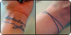bracelet tattoo with kids names inside of wrist: Callie Hand font