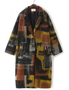 Vintage Painted Pattern Long Sleeve Suits Wool Coat  http://www.breakicetrends.com/hot-sale-women-knight-boots-9971.html