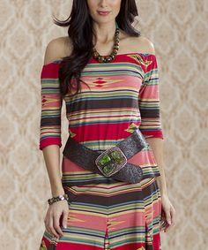 Look at this #zulilyfind! Red & Tan Southwest Stripe Off-Shoulder Top - Women by Rancho Estancia #zulilyfinds