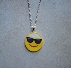 Items similar to Sunglasses Emoji Necklace on Etsy Emoji Jewelry, 10th Birthday, Geek Stuff, Nail Art, Pendant Necklace, Emoji Things, Trending Outfits, Unique Jewelry, Handmade Gifts
