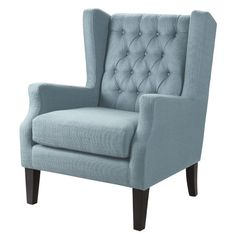 Features:  -Finish: Black noir.  -Loose seat.  -Legs/Finish: Birch legs with espresso finish.  Chair Design: -Arm chair/Wingback chair.  Frame Finish: -Black noir.  Upholstered: -Yes.  Frame Material:
