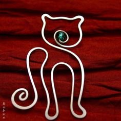 Záložočka / Zboží p - jewellery Cat Jewelry, Animal Jewelry, Wire Jewelry, Jewelry Crafts, Jewellery, Wire Crafts, Metal Crafts, Wire Bookmarks, Wire Ornaments