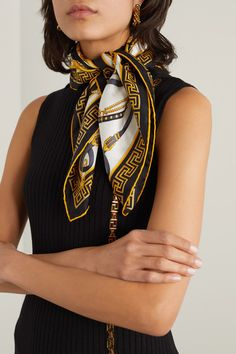 Gold, black and white silk-twill silk Dry clean Made in Italy Ways To Wear A Scarf, How To Wear Scarves, Versace Scarf, Versace Versace, Versace Dress, Classy And Fab, Scarf Knots, Silk Neck Scarf, Head Scarf Styles