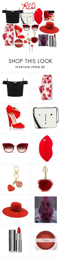 """Red"" by hogwarts10144 ❤ liked on Polyvore featuring Lipsy, Lands' End, Lulu Guinness, Barton Perreira, STELLA McCARTNEY, Tory Burch, Michael Kors, The Season Hats, Givenchy and plus size clothing"