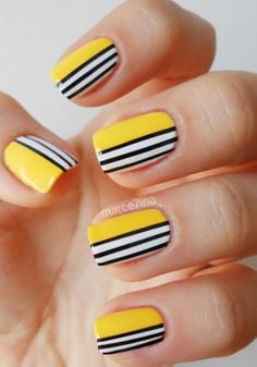 5 Amazing Yellow Nail Art Designs Color Combos for 2019 : Take a look! If you are looking for a lovely nail art design, you may get your most desired design here where we have got some amazing yellow nail art designs color combos. Yellow Nail Art, Colorful Nail Art, Geometric Nail Art, Black Nail Art, Cool Nail Art, Geometric Patterns, Black Nails, Matte Black, Blue Nail