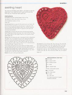 Crochet heart with diagram