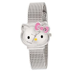 """Adorable Hello Kitty Watch Clasp Closure, Analog Time Display, Silver Face Color, Band Material: Alloy, Clock Movement Type: Quartz, Battery-Powered Care and Cleaning: Wipe Clean With a Dry Cloth Case Dimensions: 0.5 """" L x 1.0 """" W Weight: 0.25 Lb. Slight scratches shown in photos‼️ Hello Kitty Accessories Watches"""