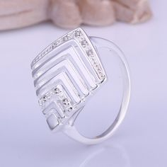 Diamond+Rhombus+Shape+Design+Hollow+out+Silver+Plated+Ring+fo+Women+Size+8