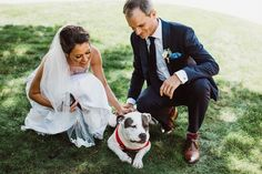 Wedding pet idea - bride + groom pose with dog {Aster & Olive Photography}