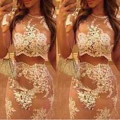 2015 Women's Sexy nude mesh 2 two piece set lace dress sexy mini dress celebrity…