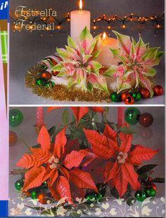 revistas de manualidades gratis Fondant Flowers, Clay Flowers, Fabric Flowers, Paper Flowers, Christmas Flowers, Christmas Time, Christmas Crafts, Christmas Decorations, Foam Crafts