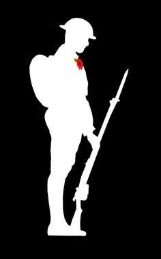 Soldier with Poppy Remembrance Day Pictures, Remembrance Day Activities, Remembrance Day Poppy, Anzac Soldiers, Hare Pictures, Victory In Europe Day, Soldier Silhouette, Ww1 Art, Poppy Craft