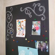 magnetic chalkboard wall--she recommends 10-15 coats of magnetic primer!