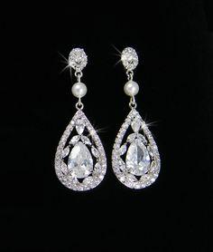 Vintage style Pearl Crystal Bridal Earrings, Swarovski Crystal wedding earrings Rhinestone  Bridesmaids, Adison Bridal Earrings
