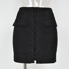 Smoves Women's Vintage High Waist External Pocket Tight Suede Lace Up Skirt Autumn Winter Thick Pencil Skirt Preppy Mini Skirt-in Skirts from Women's Clothing & Accessories on Aliexpress.com | Alibaba Group