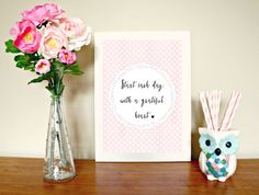 Start Each Day With a Grateful Heart Pink Polka  Dot Printable Art by WhimMagazine
