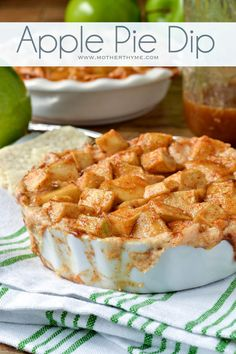 Apple Pie Dip Recipe ~ Says: This Apple Pie Dip includes a creamy layer of cream cheese whipped with sugar, yogurt & a touch of cinnamon that is spread in a pie dish. It is topped with crispy apples tossed with cinnamon & sugar and baked until hot and bubbly, then drizzled with caramel... delish!