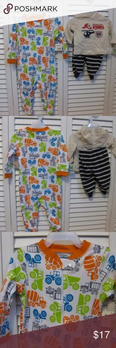Set of two Carter's and Garanimals Outfits Have a onesie sleeper that is orange, blue and green.  Print design is different kinds of trucks.  Brand is Garanimals, 100% cotton.  Size is 3 - 6.  Two piece outfit is fleet blue and white stripes with a hooded shirt with emergency vehicles on the front, the size is for newborn up to 21.5 in/6.9lbs.  Both items have tag attached.  If you have any questions before you decide to by please feel free to message me.  Thank you for looking at my item/s…