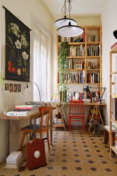 Beautiful workspace with wooden bookshelves and a red chair