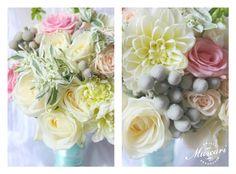 ślubne kwiaty w bukiecie ślubnym