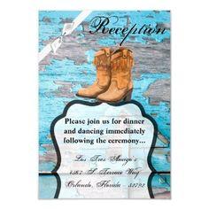 3.5x5 Reception Card Blue Wood Barn Door Boots