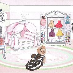 Millie's closet - check out the KO Couture pink feather dress hanging on the Armoire!  Fabulous art!