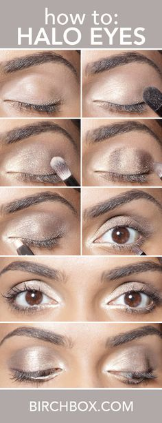 Halo eye makeup is one of the prettiest ways to make your eyes look bigger and brighter. Click through to learn how to spotlight your eyes with two shimmery eye shadows by following our step by step or watching our video tutorial.