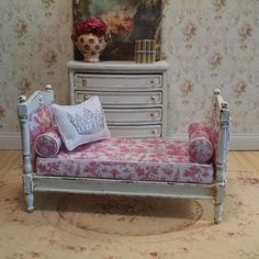 French  Shabby Chic Style Daybed  Miniature by FrenchVellum
