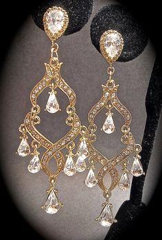 Chandelier earrings  Gold  Rhinestone by QueenMeJewelryLLC on Etsy, $39.99