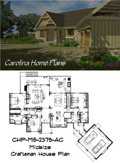 Midsize Craftsman style house plan for downsizing gracefully.