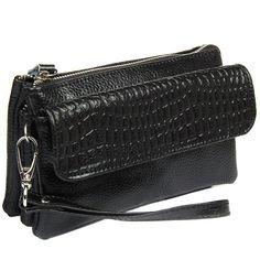 NEW Large capacity Genuine leather crocodile bag clutch wristlet bag strap Women Shoulder bags purse MI6205