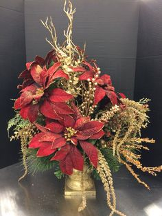 Large red and gold poinsettia custom floral by Andrea for Michaels Round Rock