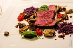 Rindslende mit Hallimasch und blauen Kartoffeln - Gasthaus Zur Rose, Eppan, Südtirol
