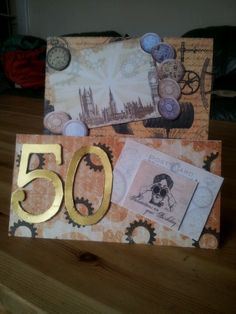 Steam punk style 50th birthday card. Made with chronology and kanban items