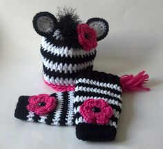 Crochet Baby Zebra Hat and Legwarmers Set by ModernBabyCrochet, $40.00