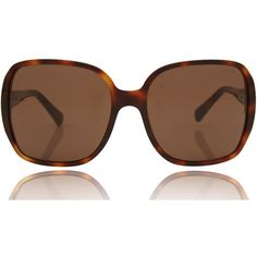 Chanel Brown Large Rectangular Polarised Sunglasses found on Polyvore