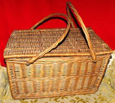 Vintage Large Wicker Picnic Basket Spring by DeeSweetNostalgia, $34.99 - SOLD!