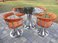 Mid Century Modern Russell Woodard High Polished Chrome Dining Set. Eames Era.