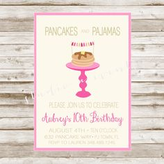 Pancakes and Pajamas Invitation-Printable-Invitation-any age-DIGITAL FILE-PRINTABLE