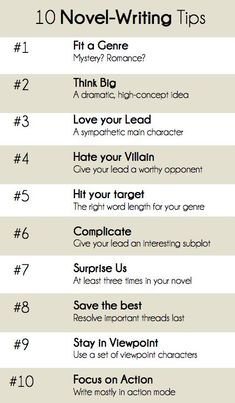 Ten helpful novel-writing tips. (Just remember... rules may be broken if you can explain why you're breaking them!)